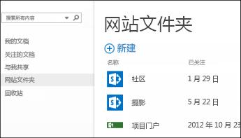 """在 Office 365 的快速操作栏中选择""""网站文件夹""""以查看你关注的 SharePoint Online 网站的列表。"""