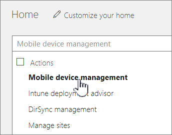 在 O365 搜索字段中键入移动设备管理器