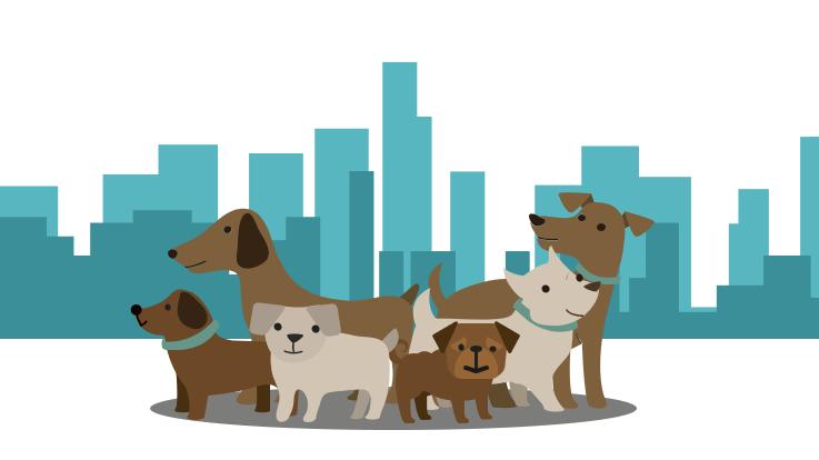 城市风景前的狗插图