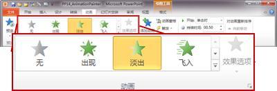 "PowerPoint 2010 功能区中的""动画""选项卡"