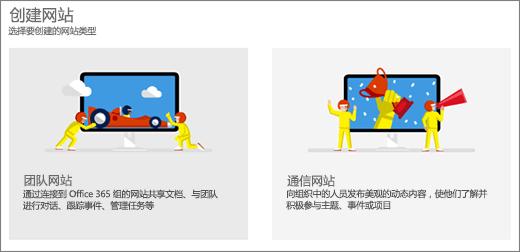 选择两个顶级模板,工作组或通信的网站。