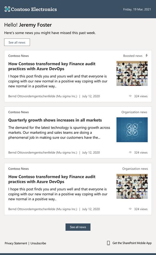 SharePoint 自动新闻摘要电子邮件屏幕截图