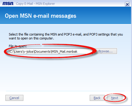 Open MSN email messages