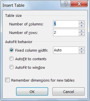 """""""插入表格""""对话框使您可以加强控制表格的外观。"""