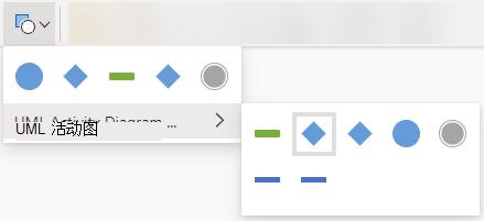"""选择""""更改形状""""按钮会打开用于替换所选形状的选项库。"""