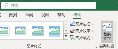 "Excel for Windows 功能区上的 ""替换文字"" 按钮"