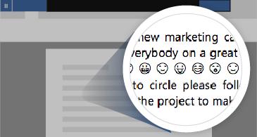 带有显示许多可用表情符号的缩放区域的文档