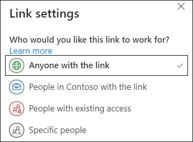 """""""链接设置"""" 中的 """"OneDrive 任何人"""" 链接选项。"""