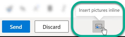 """在邮件正文下方,选择 """"插入图片"""" 按钮。"""