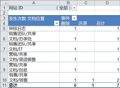 数据透视表中的审核数据的摘要