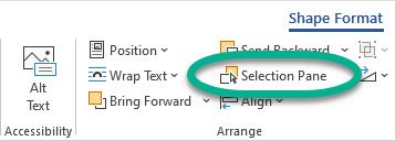 """""""选择窗格"""" 按钮位于 """"排列"""" 组中的 """"格式"""" 选项卡上。"""