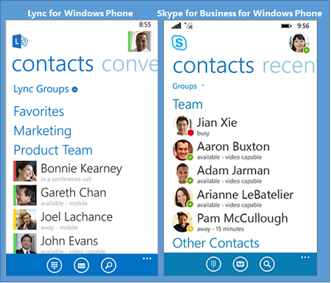 Windows Phone 使用的 Lync 和 Skype for Business 的并排比较