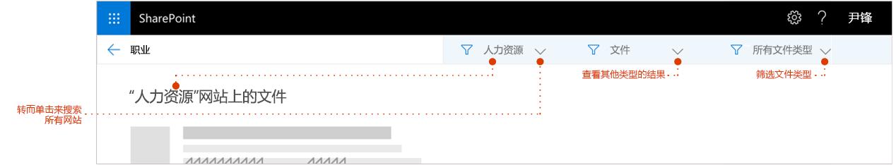 屏幕截图的搜索结果页面上,放大到结果顶部痕迹导航显示结果来自网站的位置。筛选器的指针。