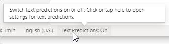 """状态栏上的""""文本预测""""开关"""