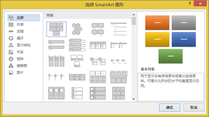 """""""选择 SmartArt 图形""""对话框中的选项"""