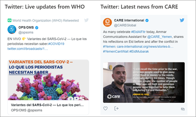显示来自两个源的推文的 twitter Web 部件的图像