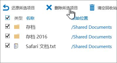 SharePoint 2016 第二个级别回收站所有选定的项目和删除突出显示