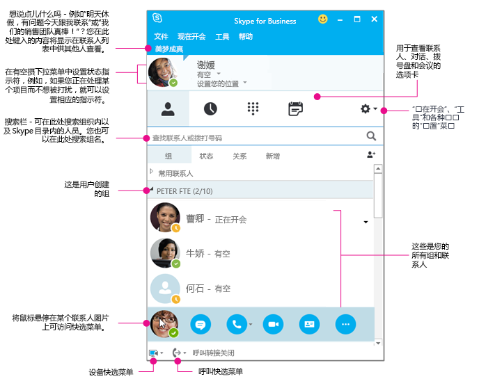"Skype for Business""联系人""窗口,图解"