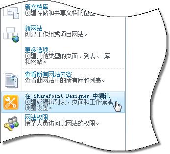 """网站操作""菜单中的 SharePoint Designer 2010"