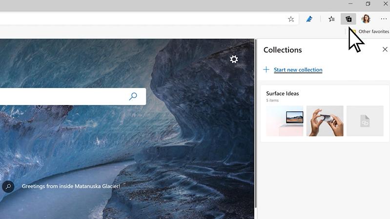 """Microsoft Edge 的屏幕截图,并且有人单击 """"收藏集"""" 按钮。"""