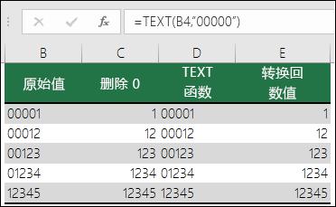 """使用 TEXT 格式化前导零的示例。  =TEXT(A2,""""00000"""")"""