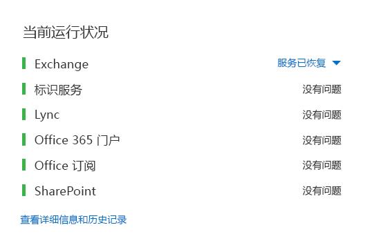 """Office 365 运行状况仪表板,所有工作负载显示为绿色,Exchange 除外,它显示""""服务已还原""""。"""