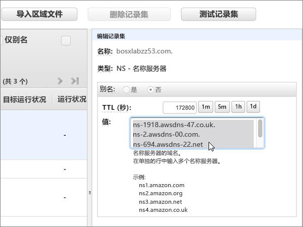 选择并删除所有值框中的名称服务器