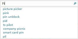 搜索框显示与用户正在键入的内容类似的单词