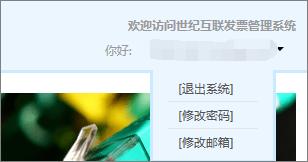 用户登录世纪互联发票管理系统后显示的下拉菜单。