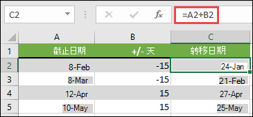 使用 = A2 + B2 (其中 A2 是日期) 在日期中增加或减去天数, B2 表示要相加或减去的天数。