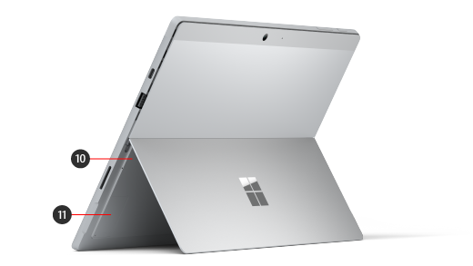 Surface Pro 7+ 设备的背面,其数字指示硬件功能。