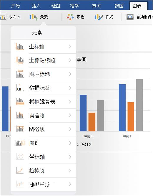 单击要自定义文档中的图表元素的功能区的图表选项卡上的元素