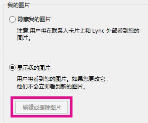 """""""设置我的图片""""选项顶部区域的屏幕截图,其中""""编辑或删除图片""""按钮已灰显"""