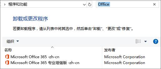 在控制面板中显示已安装的两个 Office 副本