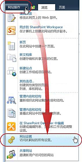 """""""网站操作""""菜单上的""""网站设置""""命令"""