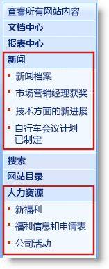 子网站和页面显示在快速启动中的标题下方。