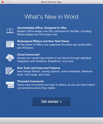 "Office 应用安装后立即首次启动时显示的""新增功能""屏幕"