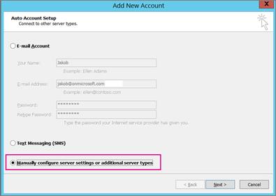 选择手动配置服务器设置或其他服务类型。