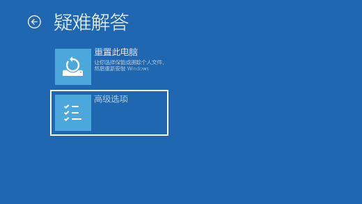 Windows 恢复环境中的屏幕疑难解答。