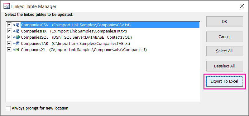 "Access 中的链接表管理器对话框,突出显示""导出到 Excel""按钮。"