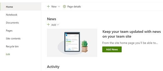 SharePoint 新式体验中的团队网站主页视图。