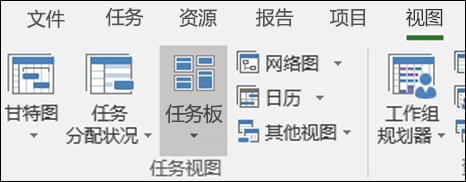 """""""视图"""" 功能区中的任务版块"""