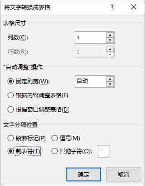 """显示""""将文本转换成表格""""对话框。"""