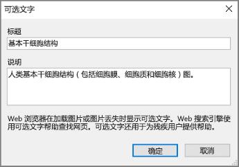 """一张屏幕截图,显示""""标题""""和""""说明""""字段中有示例文本的 OneNote""""可选文字""""对话框。"""