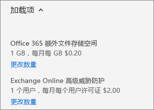 """""""外接程序""""链接和""""更改数量""""链接。"""