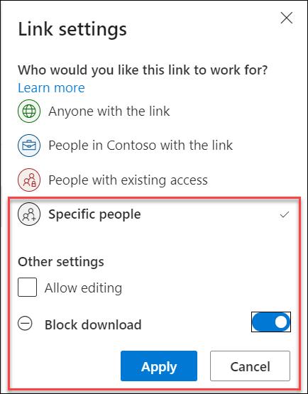 链接设置中的 OneDrive 阻止下载选项