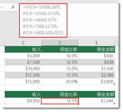 单元格 D9 中的公式为 IF(C9>15000,20%,IF(C9>12500,17.5%,IF(C9>10000,15%,IF(C9>7500,12.5%,IF(C9>5000,10%,0)))))