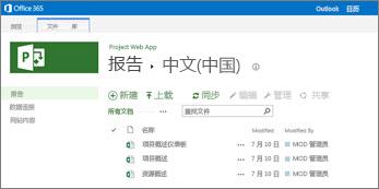 """在 Project Online 网站中的""""报表""""库中,你可以找到你的示例报表"""