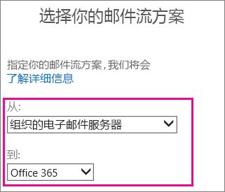 选择从组织的电子邮件服务器到 Office 365
