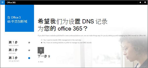 """在""""设置 DNS 记录""""页面上,选择""""否"""",然后选择""""下一步"""""""